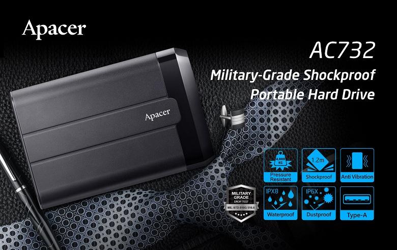 Ударопрочный портативный жесткий диск Apacer AC732 оснащен интерфейсом USB 3.2 Gen 1