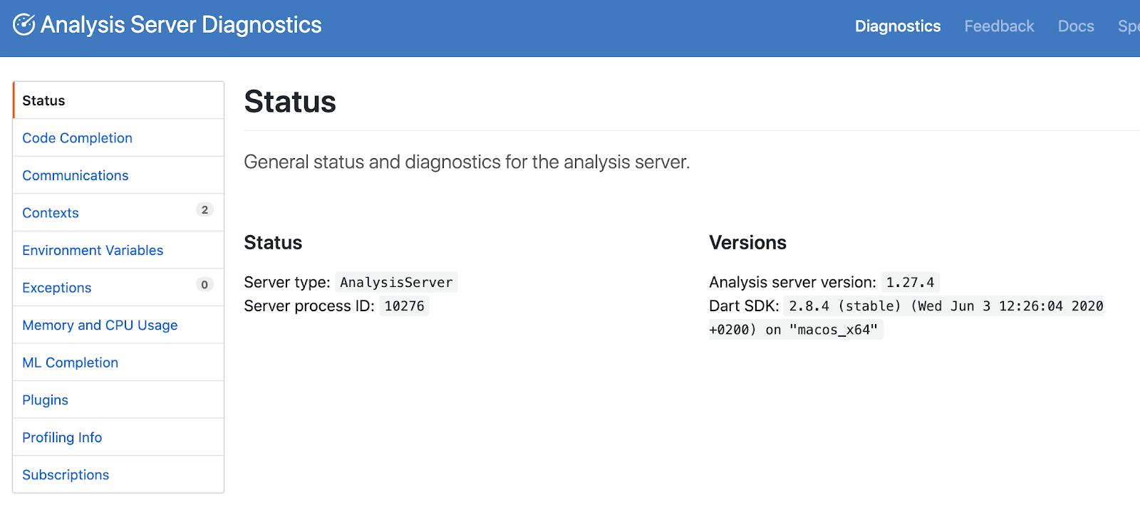 Можно посмотреть информацию по серверу, подключенные плагины и ошибки