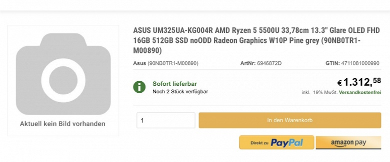 Ноутбуки с экранами OLED стремительно дешевеют. У Asus готова модель за 1300 евро с 13-дюймовым дисплеем OLED и APU Ryzen 5 5500U