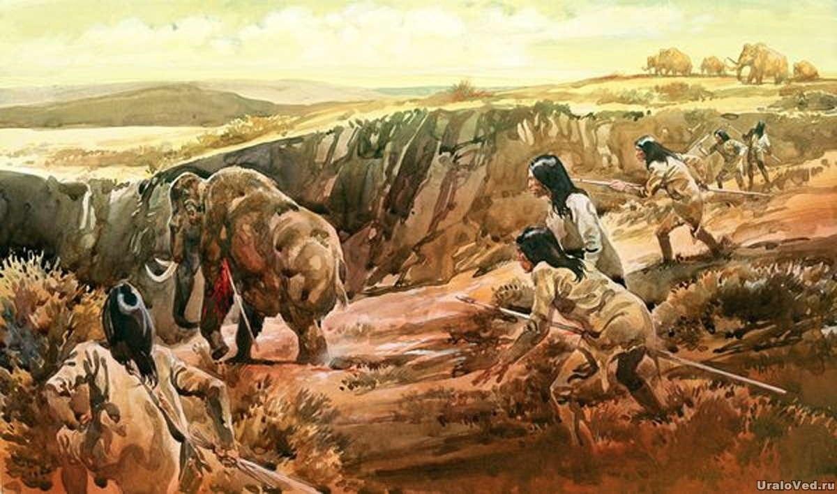 Индейцы хотели помочь отставшему от стада мамонту, но случайно ранили его