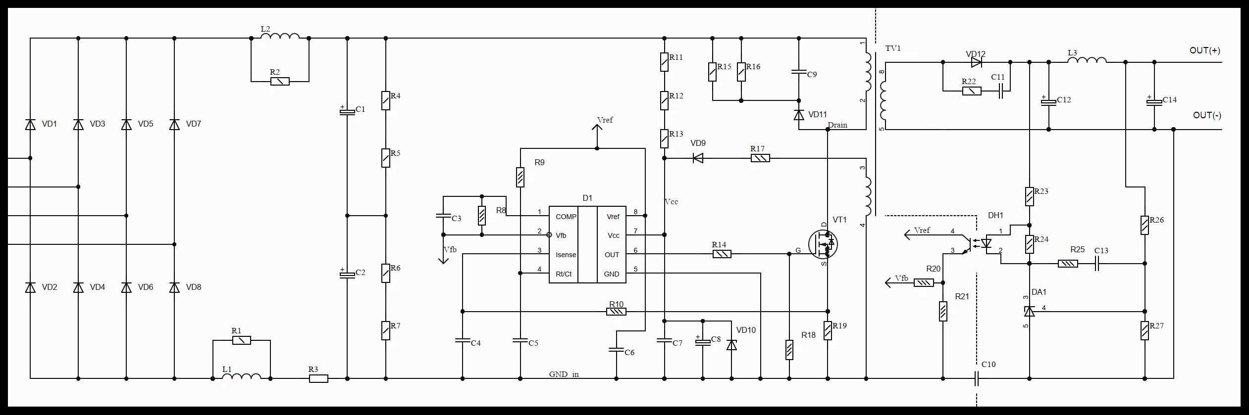 Разработка источника питания от трёхфазной сети 380В - 8