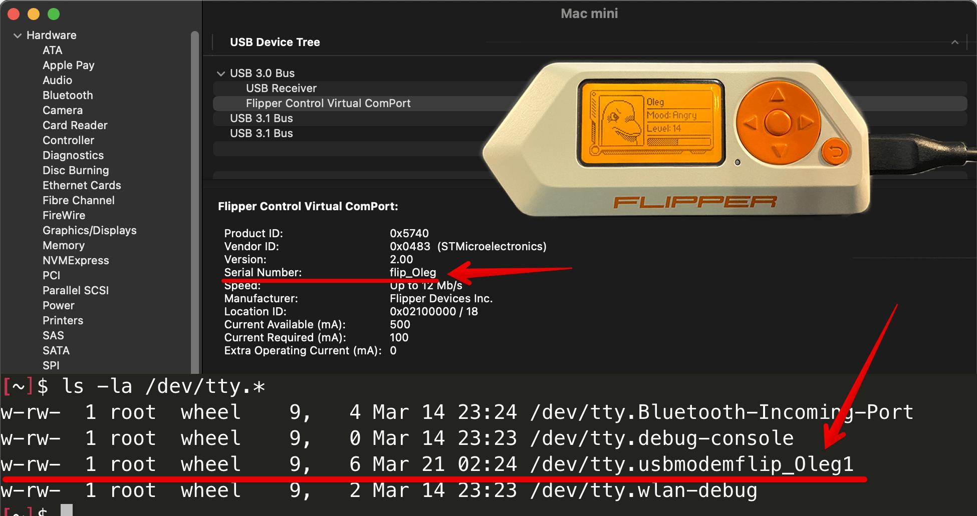Flipper Zero unique  USB port name in macOS