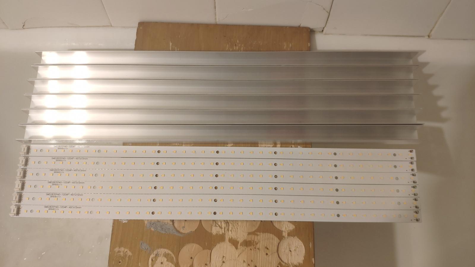 Подготовленные к сборке радиаторы и полоски