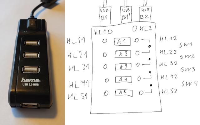 "Готовый USB-хаб (слева) и проект ""умного"" хаба (справа)"