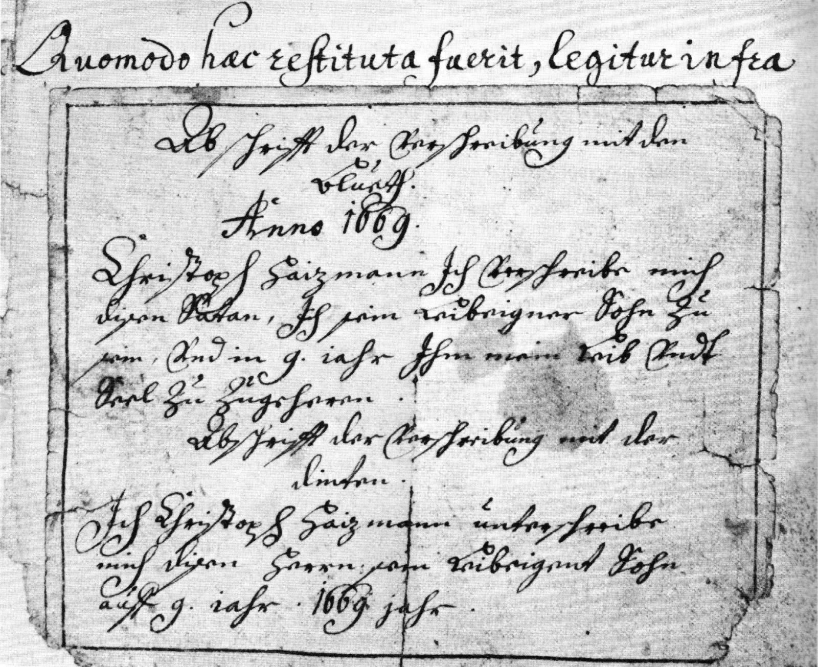 Copy of a written deal by Christoph Haizmann from 1669.