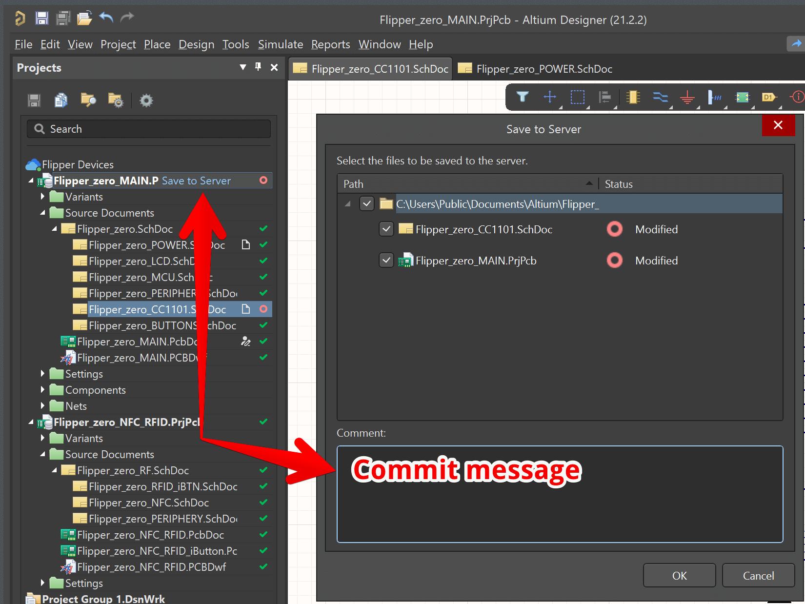 Сохранение изменений на сервер и описание изменений