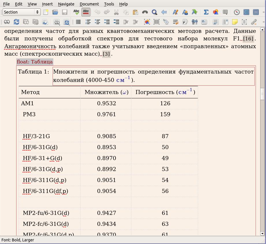 Почти WYSIWYG таблицы в LyX.