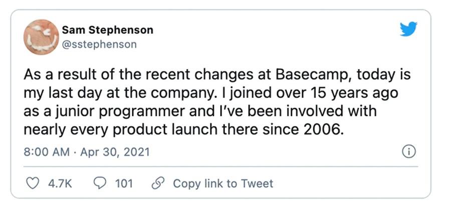 Из Basecamp уволилось больше трети сотрудников — они недовольны «аполитичностью» компании - 3