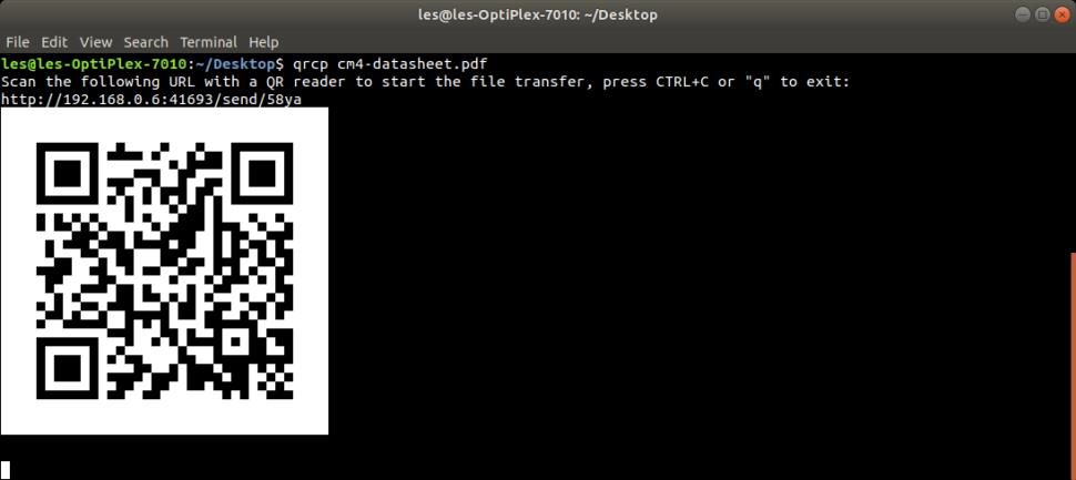 Как передавать файлы с компьютера на смартфон и обратно при помощи Qrcp и QR-кода - 3