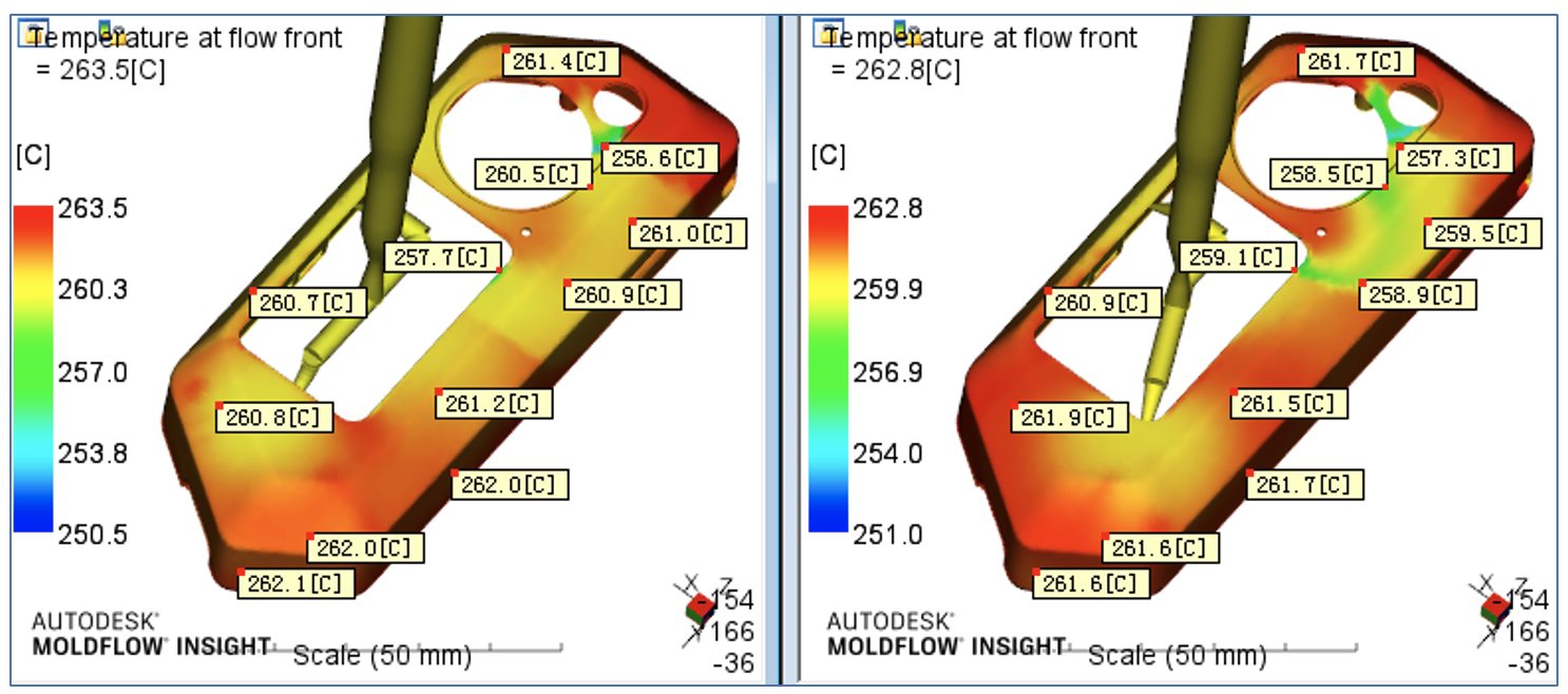 Симуляция температуры в разных местах детали