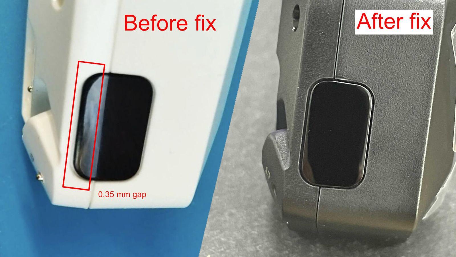 После обновления ИК-окошко плотно прилегает к корпусу с ровными зазорами