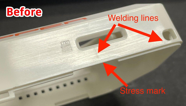 Область корпуса возле SD-карты на ранних этапах производства