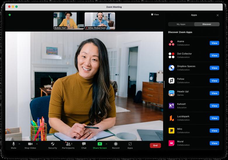 В видеоконференциях Zoom теперь можно использовать сторонние приложения — Slack, Dropbox и многие другие, включая игры