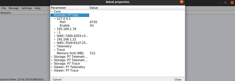 Настройка приема транзакций от proxy сервера в утилите Baical