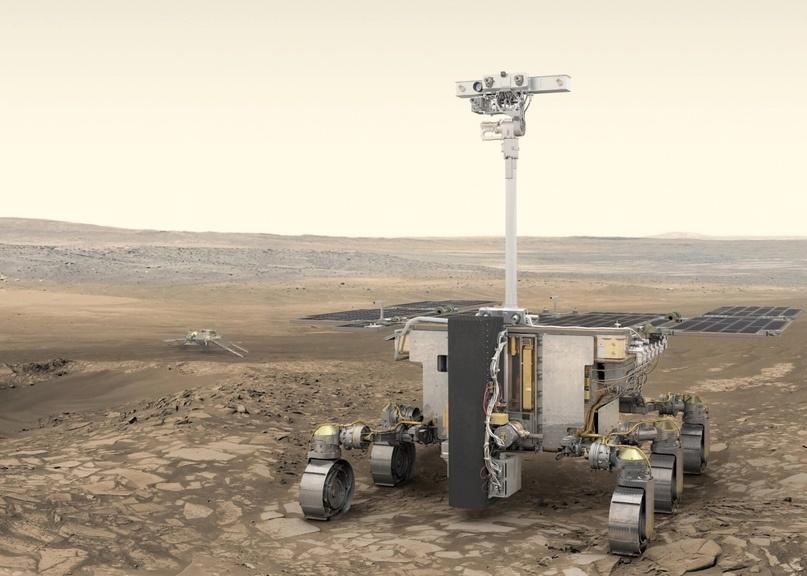 Представление художника марсохода ЕКА «Розалинда Франклин» и российского посадочного модуля «Казачок». Предоставлено: ESA/ATG medialab