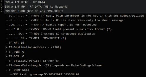 Факт отправки SMS-сообщения, захваченный через собственную GSM-сеть.