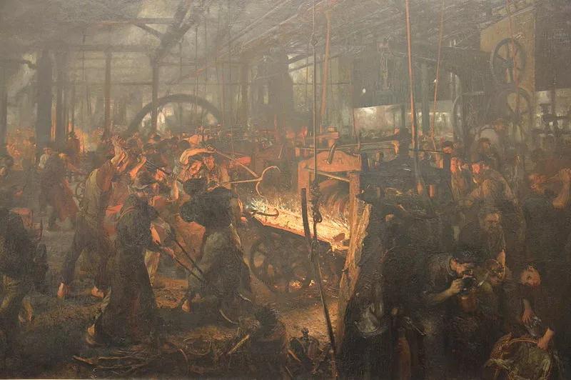 """Адольф фон Менцель, Железопрокатный завод. Реформы дали старт процессу, который позже назовут """"промышленной революцией в Германии"""", и началом его принято считать 1815 год (конечно, условно). Вскоре Германия войдет в число самых развитых стран мира и даже будет задавать тон в инновациях и изобретениях."""