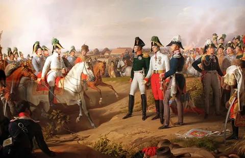 Иоганн Петер Крафт. Фельдмаршал князь Шварценберг (австриец, главнокомандующий войсками коалиции) сообщает венценосцам о победе в битве при Лейпциге.