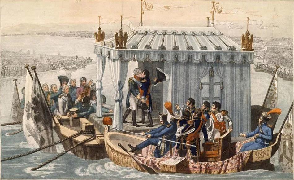 Тильзитский мир, та самая встреча посреди реки Мемель (сейчас - Неман). Да, раньше тоже любили постановочные эффекты на встречах на высшем уровне.