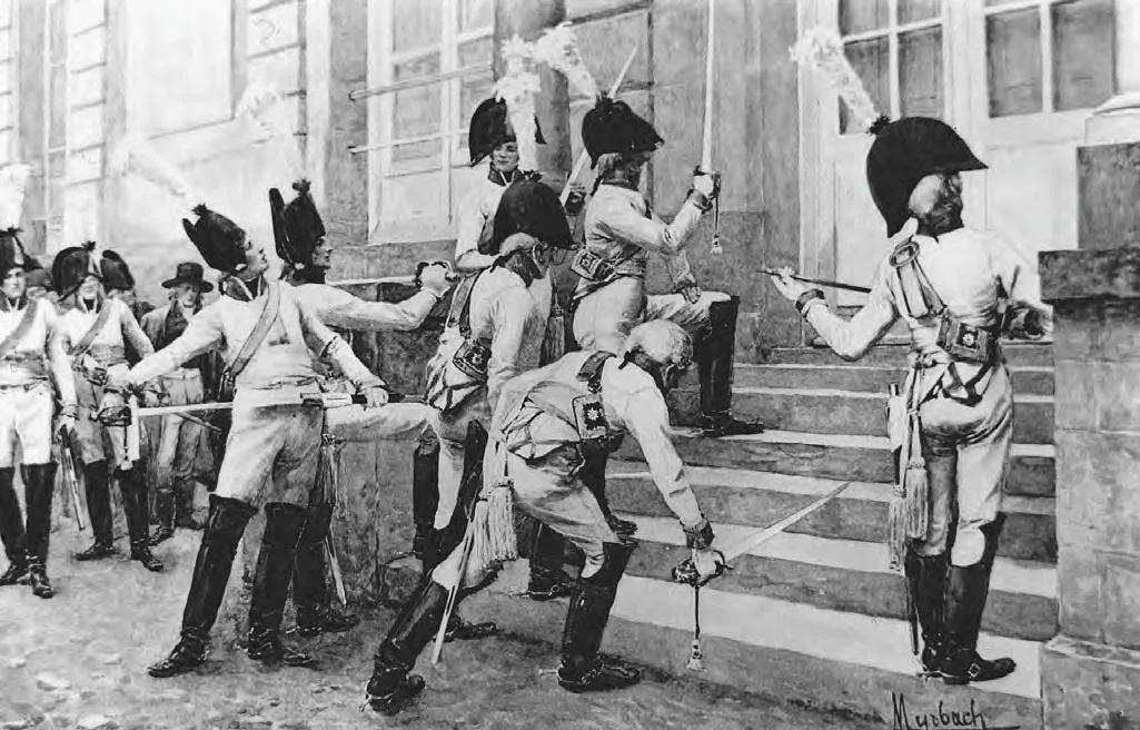 Вот как-то так вели себя бравые прусские офицеры у французского посольства до начала боевых действий. Наверное, это напугало сотрудников дипломатической миссии, но не Францию.