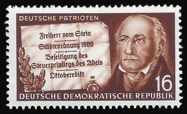 """Неугомонный и решительный реформатор (враги называли его """"бешеным"""") Генрих Штейн. Как видите, удостоился памяти даже в социалистической Германии — в ГДР."""