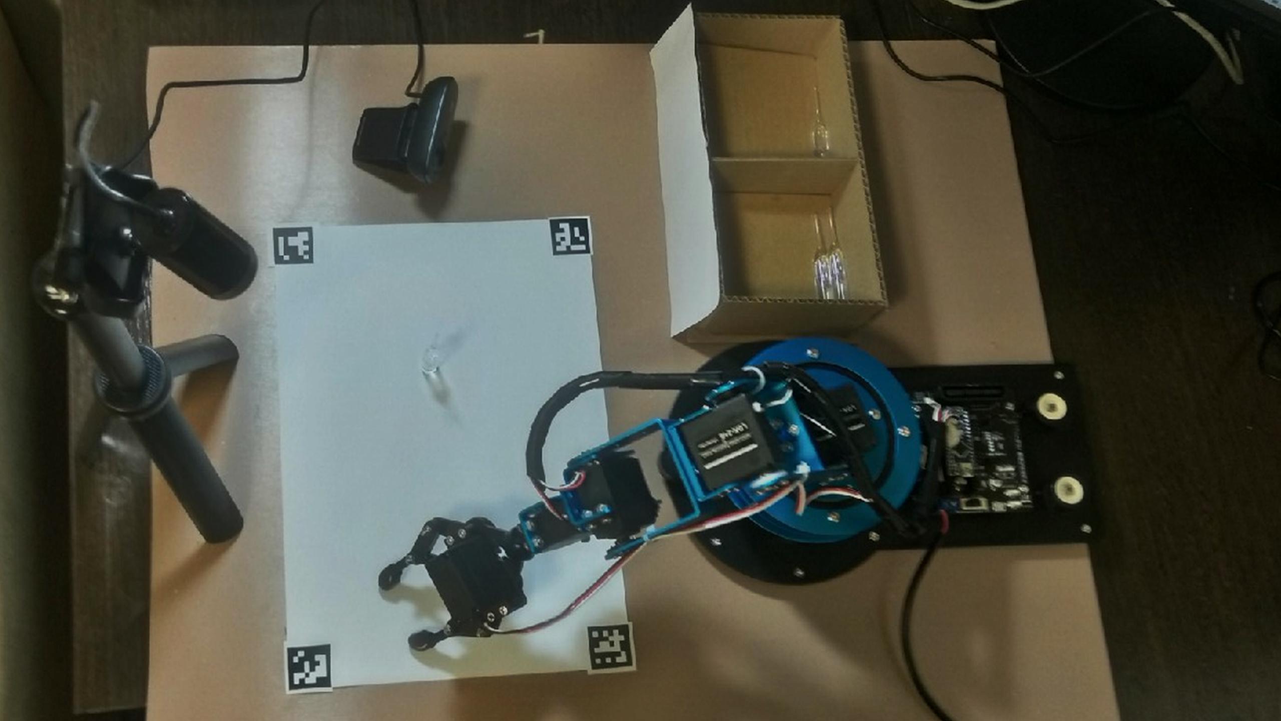 Прототип включает в себя руку-манипулятор, рабочую поверхность с маркерами, две веб-камеры (для определения положения ампул на листе и для определения качества одной ампулы), два целевых лотка для сортировки ампул.