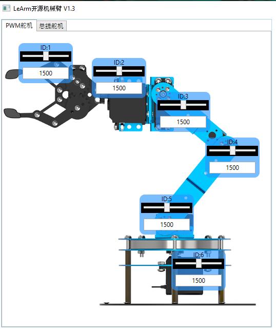 Скриншот, идущий в комплекте программы для Windows. После подключения манипулятора к USB-порту каждый сервопривод можно поставить в положение от 500 до 2500, что соответствует 180 градусам.