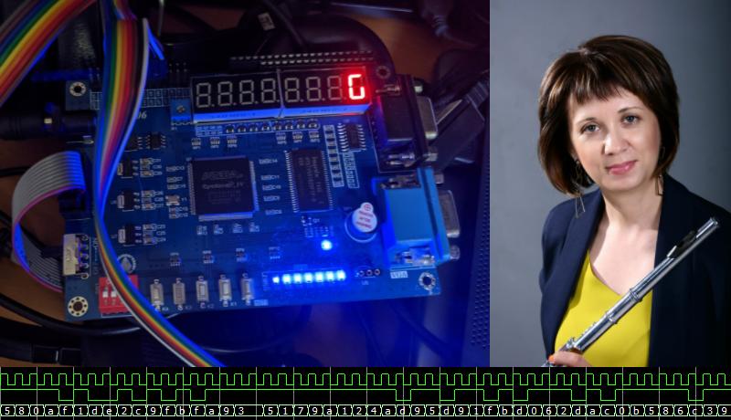 Преподавательница флейты Мария Беличенко будет играть мелодии для распознавания FPGA платой Piswords с Intel FPGA Cyclone IV