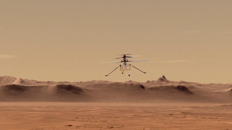 Марсианский вертолёт Ingenuity прислал новое фото с Красной планеты в 3D