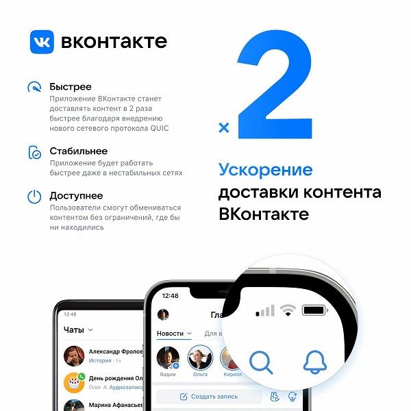 «ВКонтакте» начала работать вдвое быстрее, благодаря новому сетевому протоколу