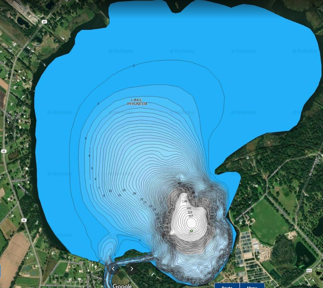 Карта глубин нынешнего озера