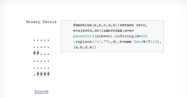 Веб-разработка / Тетрис на JavaScript с исходным кодом, который можно твитнуть