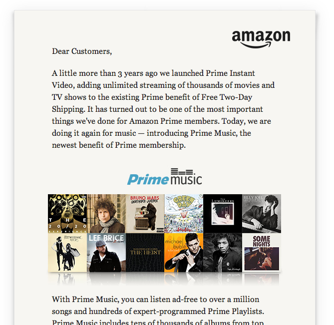 Запуск стриминга Amazon Prime Music, обращение Джеффа Безоса