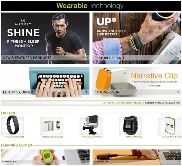 Ассортимент магазина Amazon Wearable Technology включает мониторы активности, умные часы, носимые камеры и другие подобные устройства