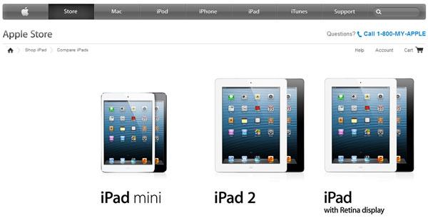 Текущая гамма планшетов iPad