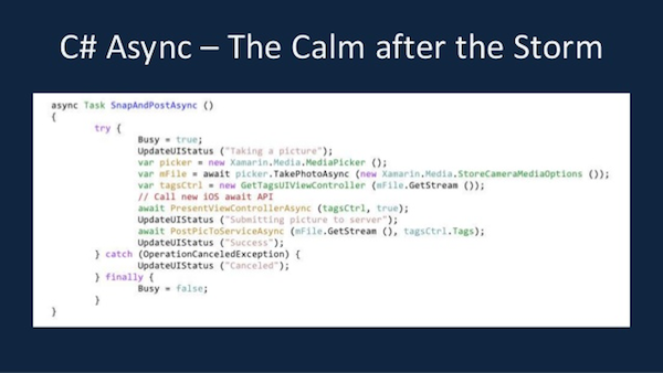 C# async для iOS и Android