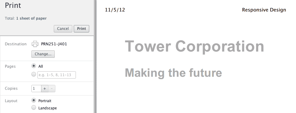 CSS печатной версии страницы