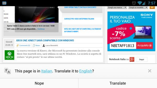 Chrome 28 Beta for Android вышел со встроенным Google Translate
