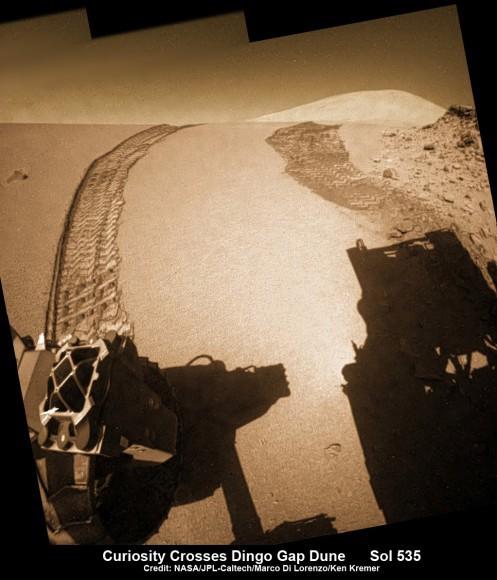 Curiosity без проблем пересек песчаные дюны