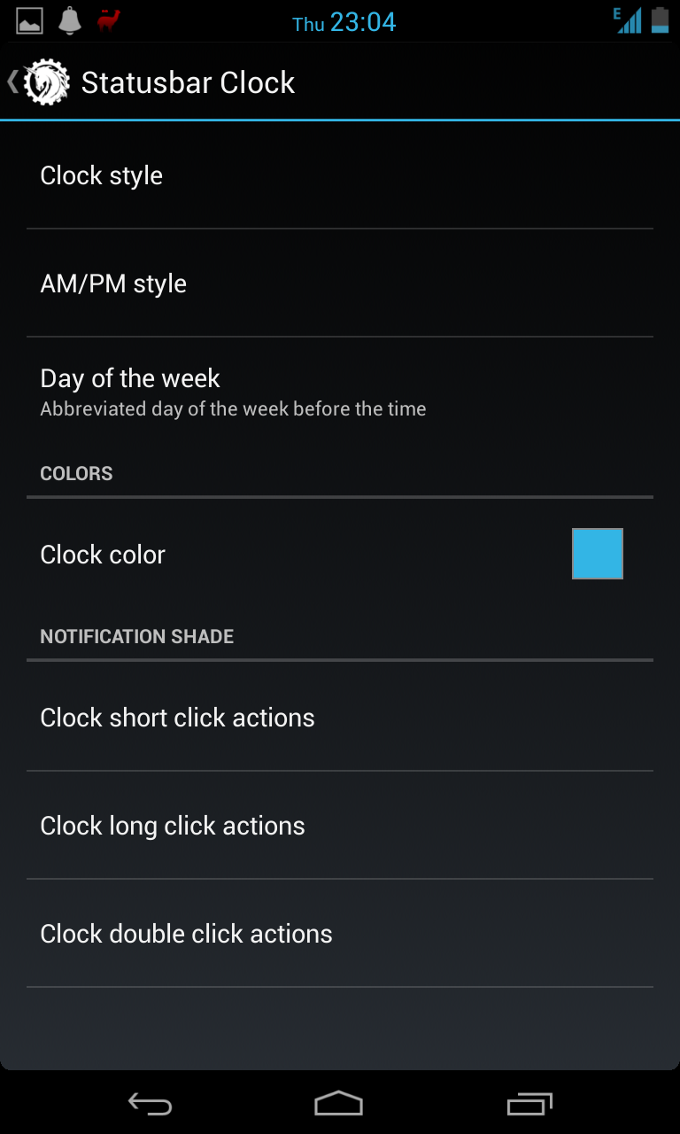 Clock options