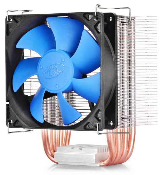 Конструкция процессорного охладителя DeepCool IceEdge 400 E включает четыре медные тепловые трубки