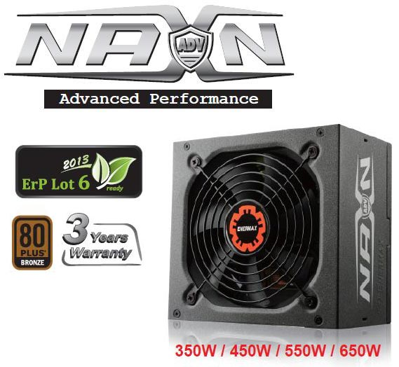 Enermax оснащает блоки питания серии NAXN ADV плоскими кабелями и вентиляторами на шарикоподшипниках