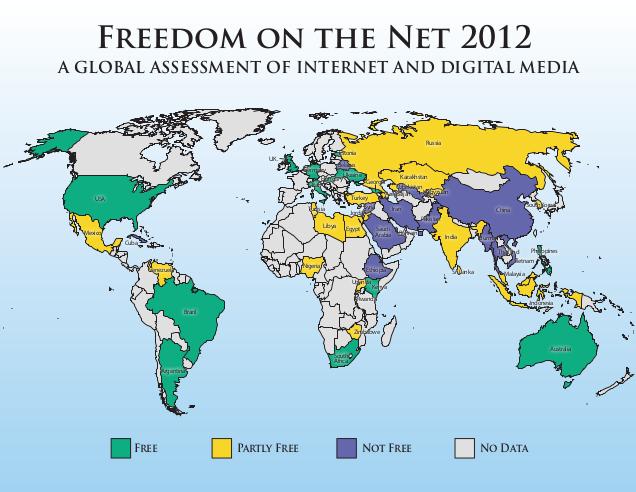 Freedom House опубликовала доклад «Свобода в интернете 2012». Россия в группе риска