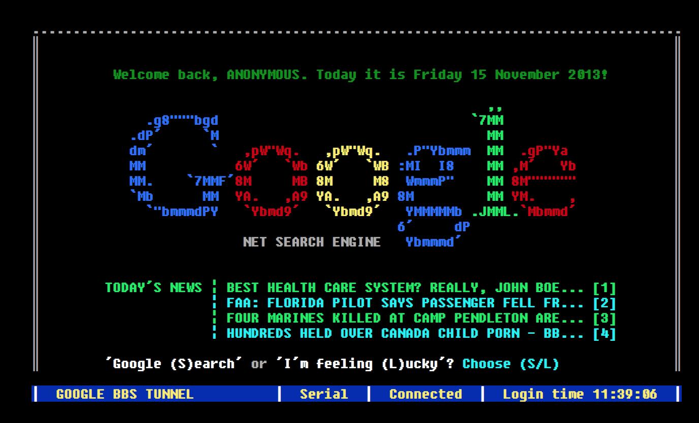 Google BBS Terminal — как google мог бы выглядеть в 80 х