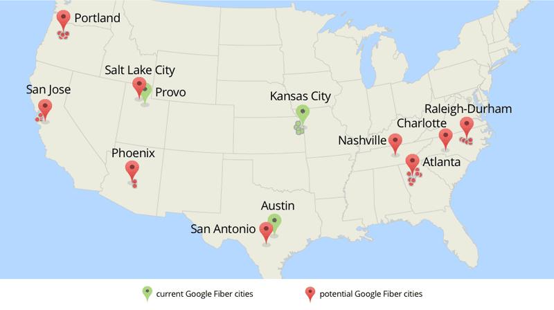 Google Fiber расширяется ещё на 9 крупных городов США
