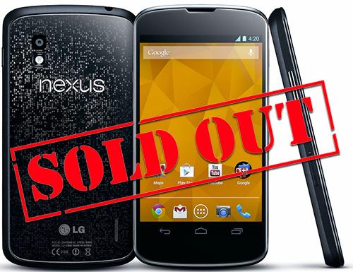 Google Nexus 4 закончился в магазинах Google Play в США, Европе и Австралии