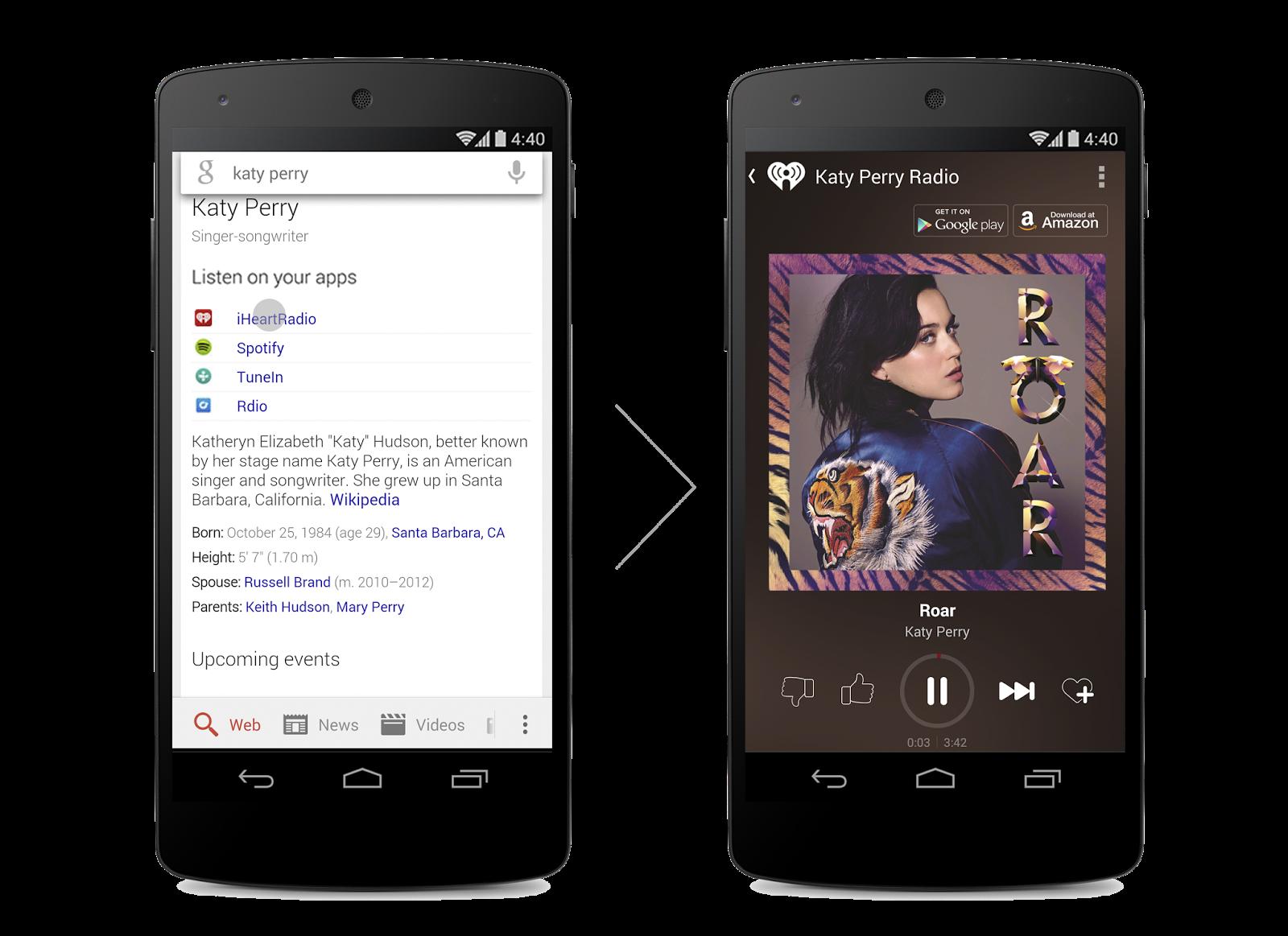 Google для Android стал ссылаться на музыку внутри приложений