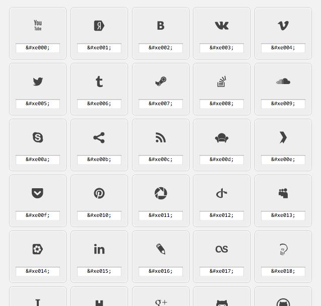 Grands icon font