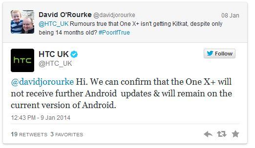 HTC: One X, One X+ останутся на текущей версии Android
