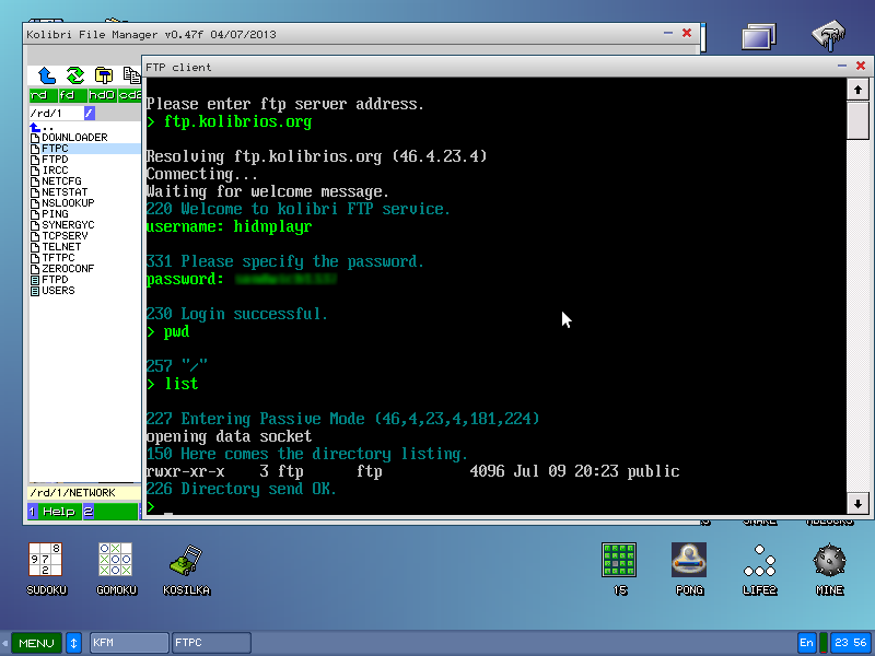 KolibriOS: network, FTP клиент и бельгийский программист